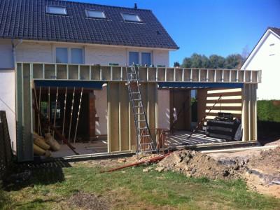 Aanbouw bijgebouw in houtskeletbouw in Dilbeek
