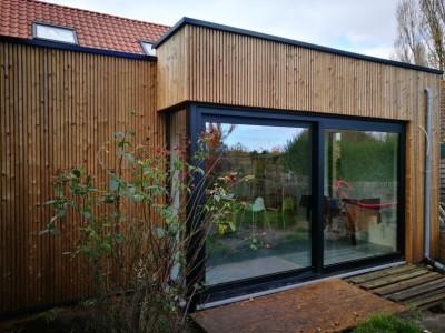Aanbouw van een bijgebouw in houtskeletbouw in Berendrecht