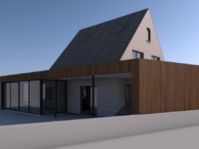 Aanbouw bijgebouw in houtskeletbouw in West-Vlaanderen